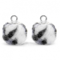 Slipperbedels bontballetje luipaard grijs